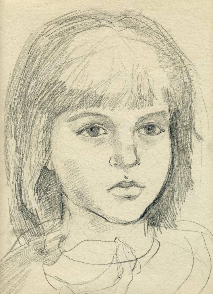 手绘图图片,小女孩的脸