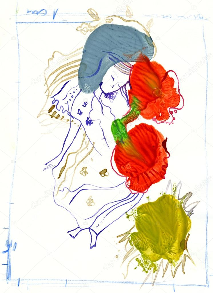 手绘图图片,女孩之间的花