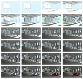24 frames from animation of sunny interior — Stock Photo