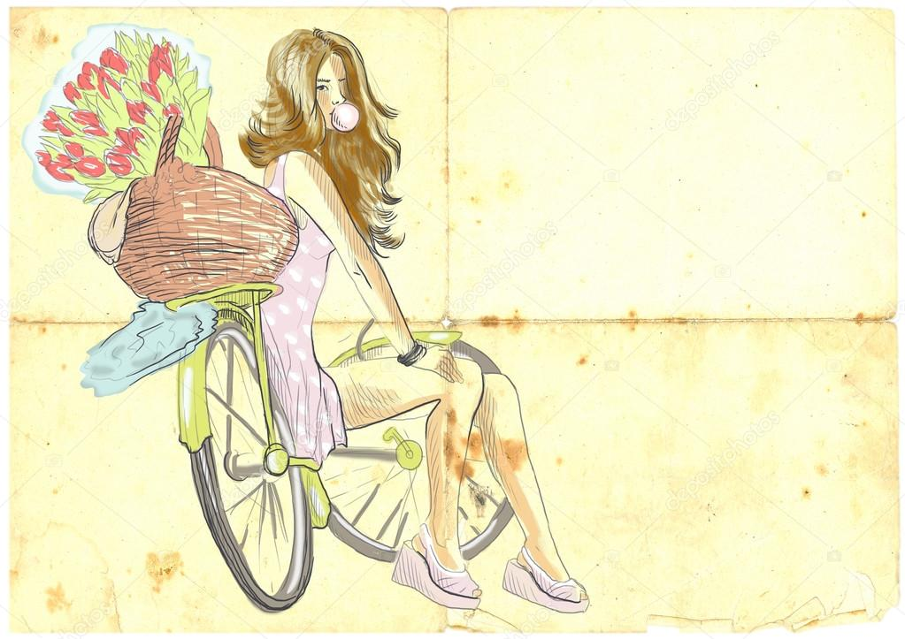 插画设计手绘单车