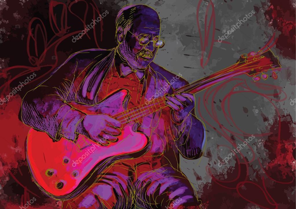 总会玩吉他手绘插图