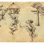 Africa - Two natives (women) dancing — Stock Vector #26691315