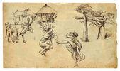 Africa - Two natives (women) dancing — Stock Vector