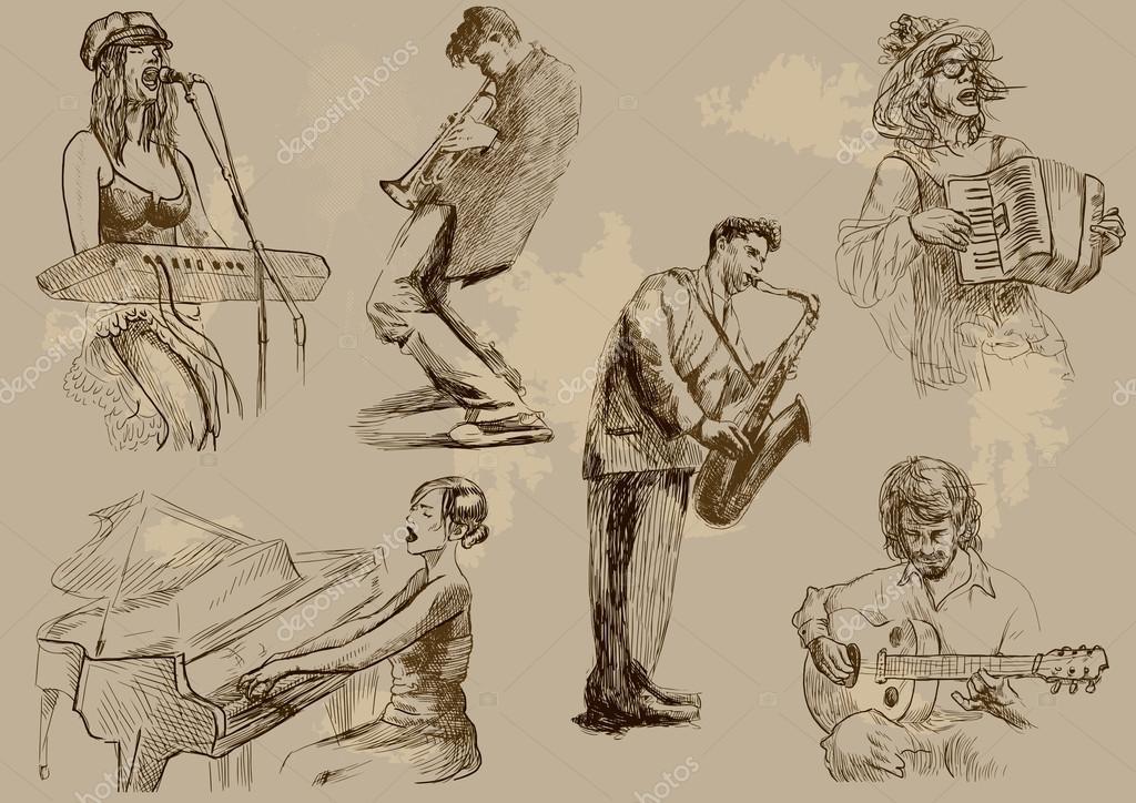 рисунки исполнителей с различными музыкальными инструментами
