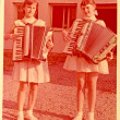 Teenagers- Girls with Accordions — Stock Photo