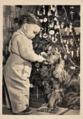 Christmas time (Boy, dog - cocker spaniel, Christmas tree) — Stock Photo