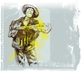Musician - bluesman playing the spanish guitar — Stock Vector