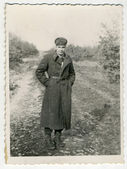 Soldier in a long coat — Stock Photo