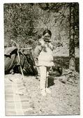 Girl at a summer camp — Stock Photo