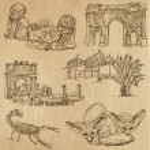 Постер, плакат: ALGERIA 1 Collection of hand drawn illustrations into vector