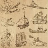 N ° 1 di navi e barche — Vettoriale Stock