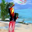 Digital painting: Flying a kite — Stock Photo