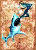 Digital Painting: Shark Attack — Stock Photo