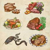 Alimentos en todo el mundo, un ejemplo dibujado mano de color — Foto de Stock