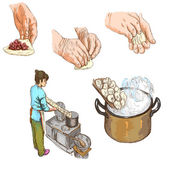 Prepare Pasta - hand drawn illustration — Stock Photo