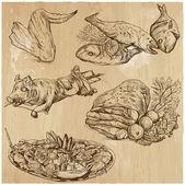 Food around the World, hand drawn vector set — Stock Vector
