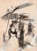 机场-邮政飞机与飞行员和战士 — 图库照片