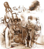Soldiers posing in front of a large Howitzer (Mortar) — Stock Photo
