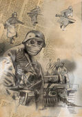Soldier in mask - An hand drawn illustration — Stock Photo
