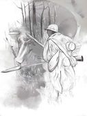 Soldier with a rifle in the woods - Hand drawn picture — Stock Photo