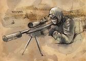 Sniper (Shooter) - Hand drawn vector — Stock Vector