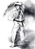 Karate - Hand drawn (calligraphic) illustration — Stock Photo