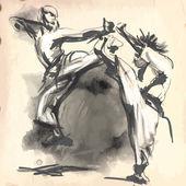Karatê - vetor (caligráfico) desenhada de mão — Vetor de Stock