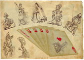 Playing cards - straight - search the history — Stock Photo