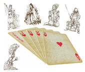 Playing cards - straight - search the history — Stockvektor