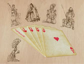 Playing cards - straight - search the history — Vecteur