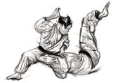 Judo - hand drawn illustration converted into vector — Stock Photo