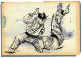 Judo - hand drawn illustration converted into vector — Foto de Stock