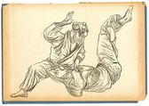 Judo - hand getrokken illustratie omgezet in vector — Stockfoto