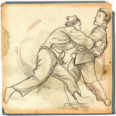 Judo - an full sized hand drawn illustration — Stock Photo