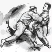 Judo - hand drawn illustration converted into vector — Vector de stock