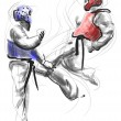 Постер, плакат: Tae Kwon Do An full sized hand drawn illustration on white