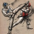 Постер, плакат: Tae Kwon Do An full sized hand drawn illustration on old paper
