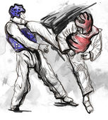 Tae-Kwon Do. An full sized hand drawn illustration — Stock Photo
