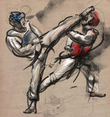 Tae-Kwon Do. An full sized hand drawn illustration on old paper. — Stock Photo