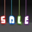 Sale signs hanging, vector illustration — Stock Vector