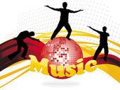 Shiney discokugel mit silhouetten — Stockfoto