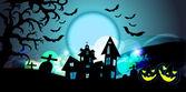 Cadılar bayramı arka planda uçan yarasalar, eski bir ev, kabak ile vektör — Stok Vektör