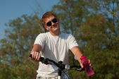The guy on the bike — Stockfoto