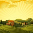 Rural landscape with fields and hills — Stock Vector