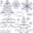 Set of Christmas doodles — Stock Vector