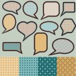 Speech bubbles made of paper with geometric pattern - Stock Vector