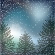 Royalty-Free Stock Vector Image: Night Christmas background with whirling snow and fir-tree