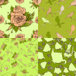 Set of vintage seamless patterns — Stock vektor