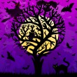 Halloween background with stylized tree - Imagen vectorial