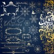 Calligraphic set for Christmas design — Stock Vector